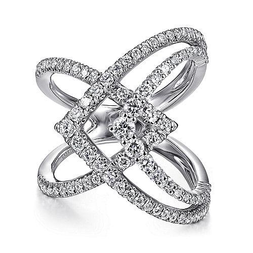 c63b438a09f5be 14K White Gold Wide Band Layered Diamond Ring