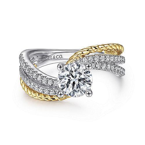 e1998fc5fd49d 14K White-Yellow Gold Round Diamond Engagement Ring - ER14468R4M44JJ
