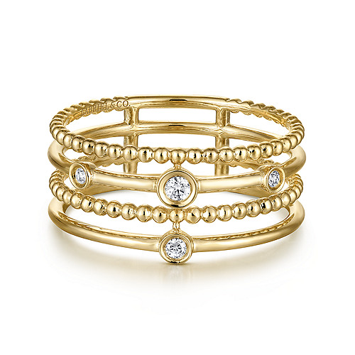 71307545772c7 14K Yellow Gold Beaded Bezel Set Diamond Layered Ring - LR51278Y45JJ