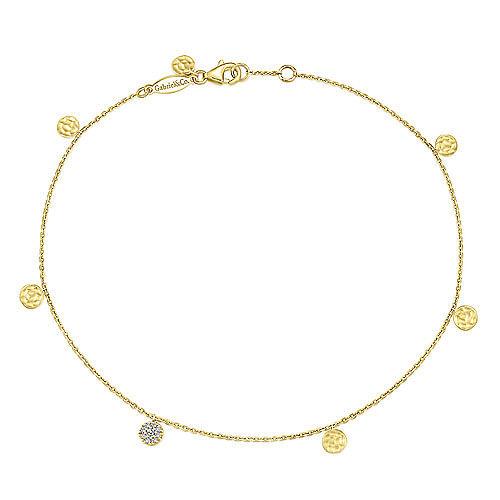 14K Yellow gold  7  Diamond Circle Bracelet  Pave Diamond Round Disc Bracelet  Chain Bracelet Diamond Charm Bracelet  NXDOJGD40B3
