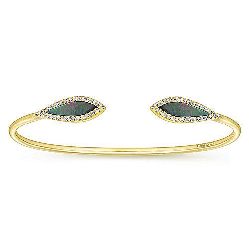 7c40dc59356 14K Yellow Gold Diamond & Black Mother of Pearl Bangle