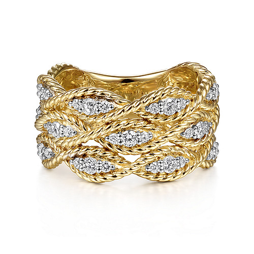 4565eac516201 14K Yellow Gold Twisted Braided Diamond Wide Band Ring - LR51558Y45JJ