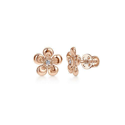 ab4cbfdc26be0 14k Rose Gold Floral Round Diamond Stud Earrings - EG9866K45JJ
