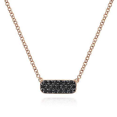 14k Rose Gold Rectangular Black Diamond Bar Fashion Necklace - NK4943K4JBD