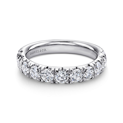 14k White Gold 11 Stone French Pave Set Diamond Band An11179w44jj