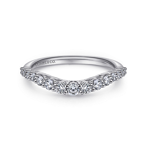 14k White Gold Curved Shared Prong Set Band - AN10959W44JJ
