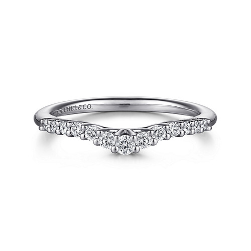 14k White Gold Curved Shared Prong Set Band - AN10975W44JJ