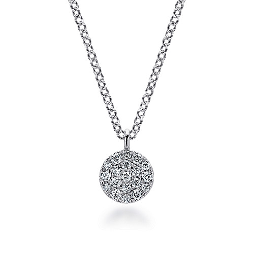 fcfe6d23901fb 14k White Gold Round Pave Diamond Fashion Necklace - NK5332W45JJ