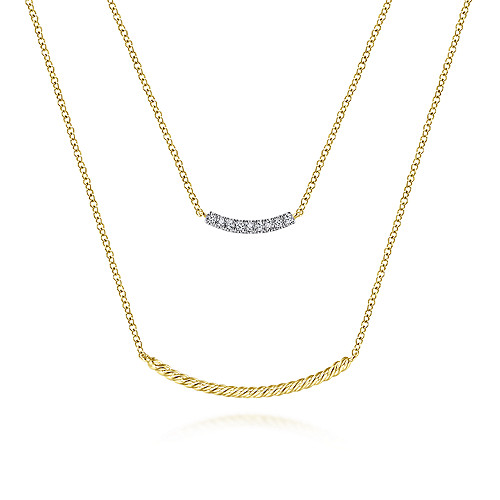 c9bdaf245 14k Yellow Gold Layered Twisted Diamond Bar Necklace