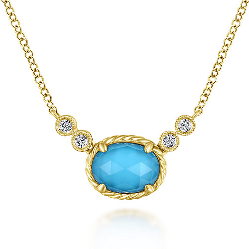 acb68c9e2 14k Yellow Gold Rock Crystal & Turquoise Diamond Fashion Necklace