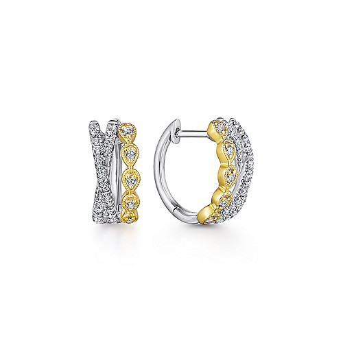 ab594f215 14k Yellow/White Gold Criss Cross 10mm Diamond Huggie Earrings