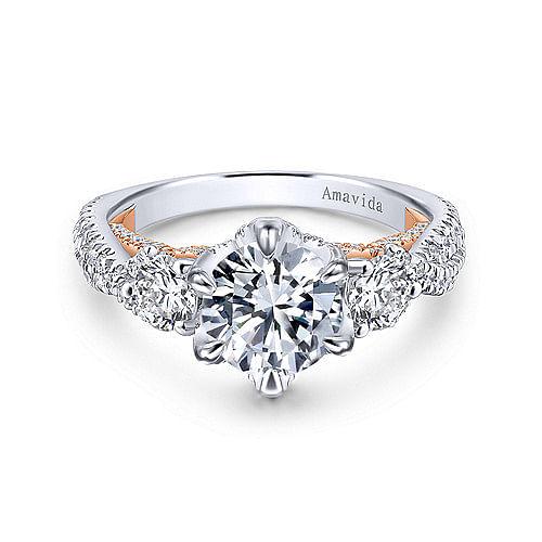 567773e74 18K White/Rose Gold Diamond Engagement Ring