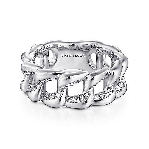 e14d451e992ab 925 Sterling Silver Chainlink White Sapphire Ring - LR51289SVJWS