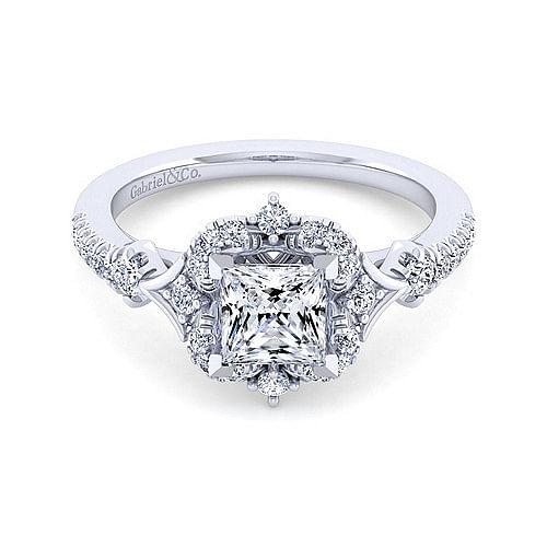 ee3c5fa5ba86f Vintage 14K White Gold Fancy Halo Princess Cut Diamond Engagement Ring -  ER14411S4W44JJ