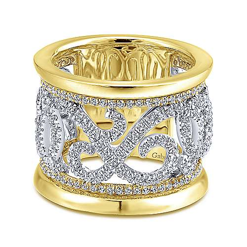 Gabriel -  14k White and Yellow Gold French Pavé Set Fancy Anniversary Band