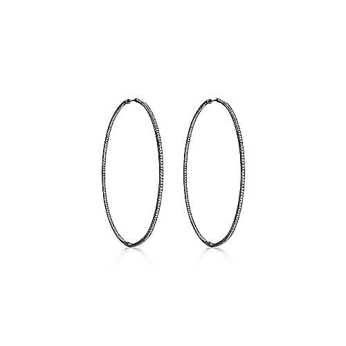 14K Black Rhodiumed Gold Micro Pave 80mm Round Inside Out Diamond Hoop Earrings