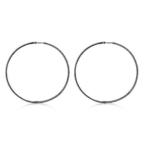 14K Gold 80MM With Black Rhodium Fashion Earrings