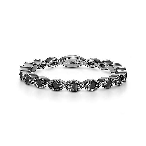14K Gold Black Rhodium and Black Diamond Stackable Ring