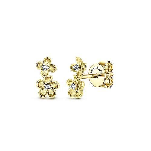 14K Gold Dia Earrings