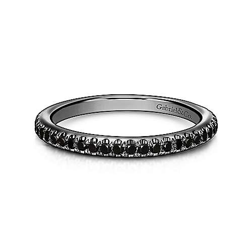 14K Gold With Black Rhodium Black Diamond Stackable Ladies Ring
