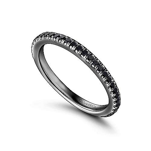 14K Gold With Black Rhodium Black Diamond Stackable Ring