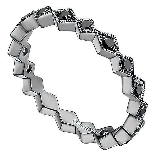 14K Gold With Black Rhodium Fashion Ladies Ring