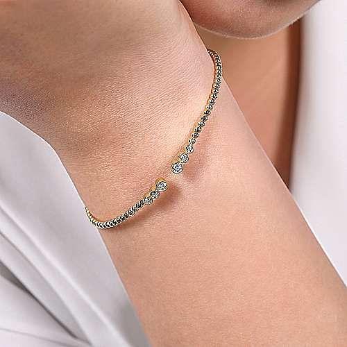 14K Open Silhouette Bezel Diamond Bangle