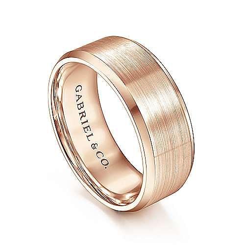 14K Pink Gold 8mm Men's Wedding Band