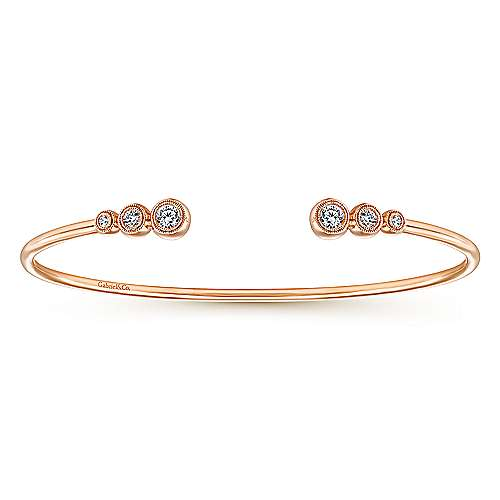 Gabriel - 14K Pink Gold Diamond Bangle