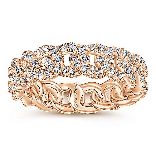 14K Pink Gold Fashion Ladies Ring