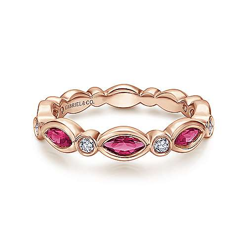 Gabriel - 14K Pnk Gold Ruby&Diamond Ring