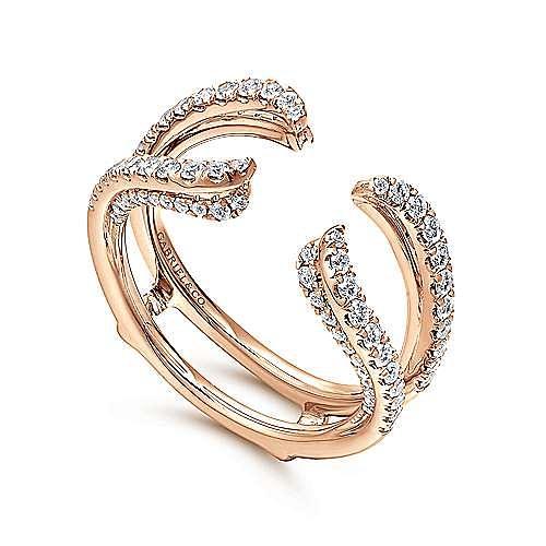 14K Rose Gold  French Pavé Set Diamond Ring Enhancer