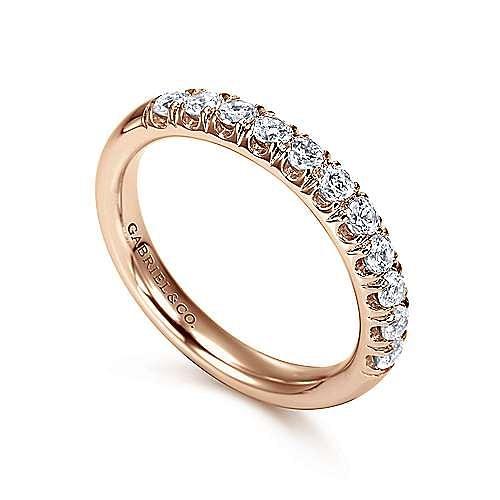 14K Rose Gold 11 Stone French Pavé Diamond Wedding Band
