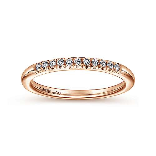 14K Rose Gold 11 Stone French Pavé Set Diamond Wedding Band