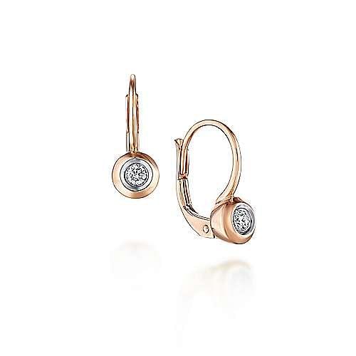 14K Rose Gold 15mm Round Bezel Diamond Drop Earrings