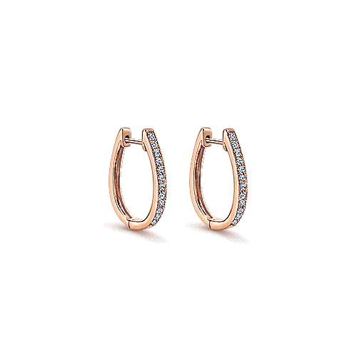 14K Rose Gold 20mm Slim Pavé Diamond Huggies