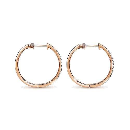 14K Rose Gold 30mm Diamond Hoop Earrings