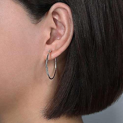 14K Rose Gold 30mm Round Classic Hoop Earrings