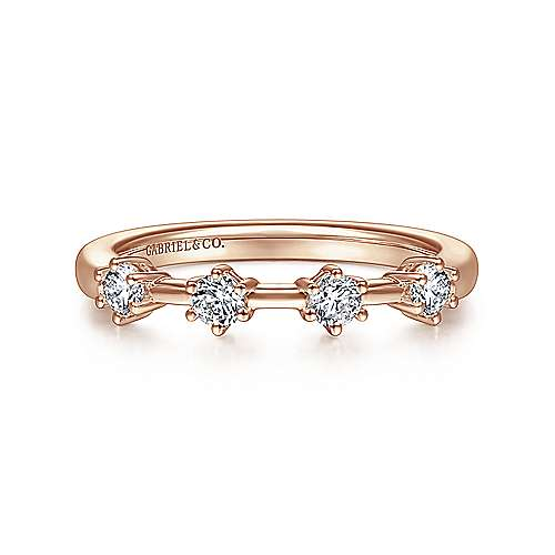14K Rose Gold 4 Stone Stations Stackable Diamond Anniversary Band