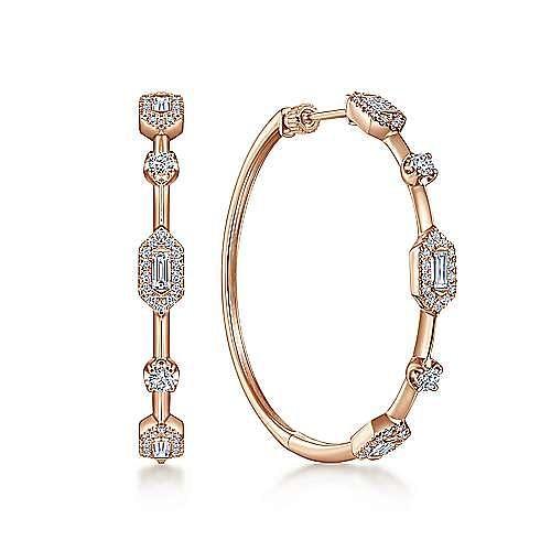 14K Rose Gold 40mm Diamond Baguette and Round Station Hoop Earrings