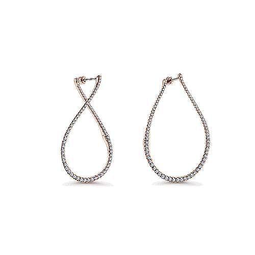 14K Rose Gold 45mm Diamond Hoop Earrings