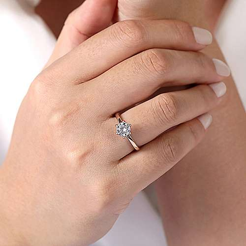 14K Rose Gold 6 Prong Round Solitaire Engagement Ring