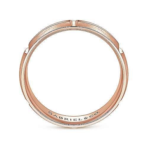 14K Rose Gold 6mm -  Linear Engraved Stations Men's Wedding Band