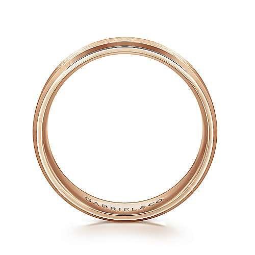 14K Rose Gold 6mm -  Rounded Satin Center and Polished Beveled Edge Men's Wedding Band