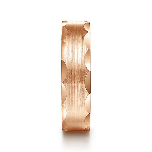 14K Rose Gold 6mm -  Satin Grooved Edge Men's Wedding Band