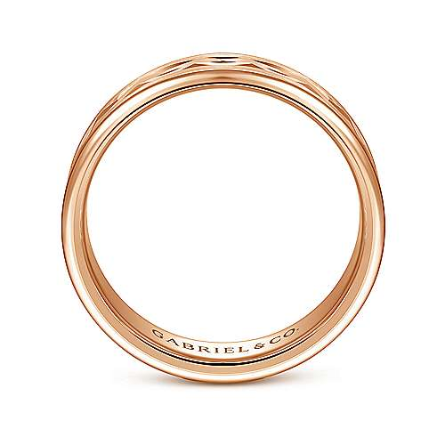 14K Rose Gold 6mm - Center Diamond Cut Men's Wedding Band
