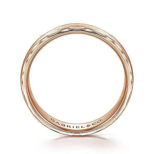 14K Rose Gold 6mm - Diamond Coin Cut Edge Satin Finish Men's Wedding Band