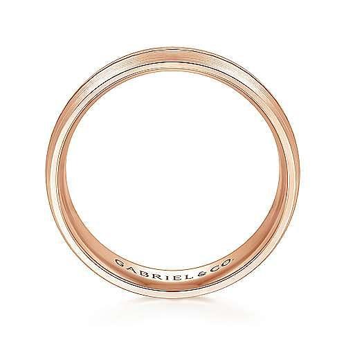 14K Rose Gold 6mm - Engraved Channel Center, Satin Finish Men's Wedding Band