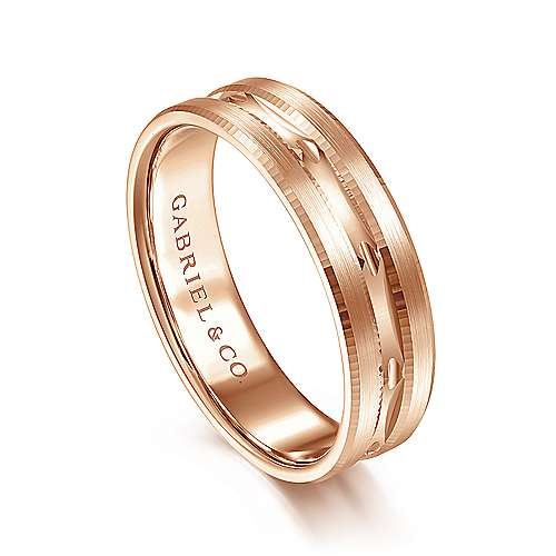 14K Rose Gold 6mm - Engraved Channel Men's Wedding Band