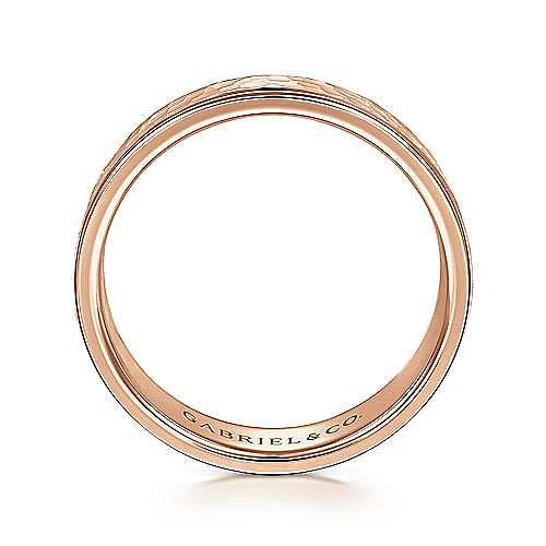 14K Rose Gold 6mm - Hammered Center, Polished Edge Men's Wedding Band